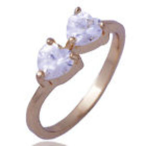 Jewelry - 14K Yellow Gold Filled Ring with 2 Clear Crystals